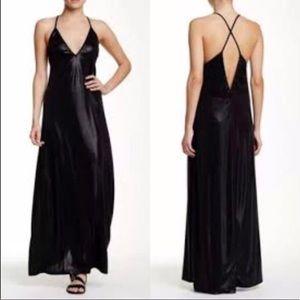 American Apparel Metallic Black Maxi Dress